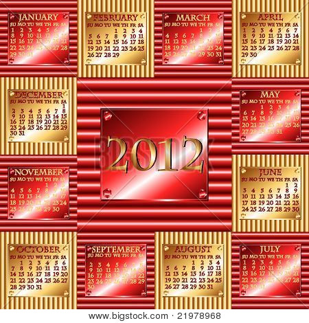 2012 rot und Gold Wellte Metall-Kalender