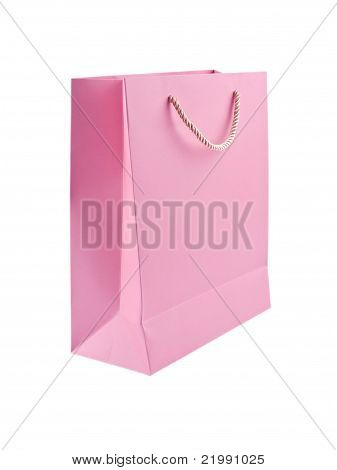 Pink Gift Bag Iolated On White