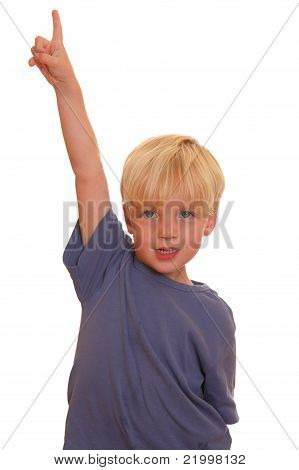 Boy Pointing High
