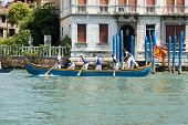Rowers racing on Grand Canal, Venice