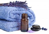 picture of stone-therapy  - towel and lavender isolated - JPG