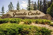 Постер, плакат: Welcome To Grande Cache Welcoming Sign To The Town Canada