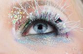 Blue Eye, Pink Colorful Make-up Close-up, Macro Beautiful Women's Eye With Perfect Shape Eyebrows. C poster