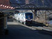 stock photo of amtrak  - Amtrak train arrives in Glenwood Springs - JPG