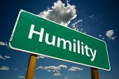 "picture of humility  - ""Humility"" Road Sign with dramatic blue sky and clouds. - JPG"