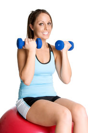 image of lifting weight  - Pretty happy young white brunette lady exercising - JPG