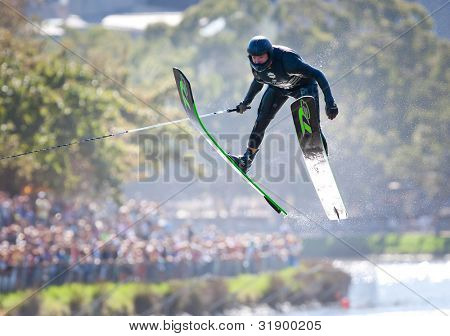 MELBOURNE, AUSTRALIA - MARCH 12: Jimmy Siemers of the USA in the jump event at the Moomba Masters on March 12, 2012 in Melbourne, Australia