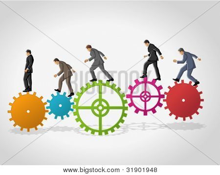 Business man over colorful machine gear wheel. Cogwheel.