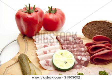 Ham sausage and blood sausage