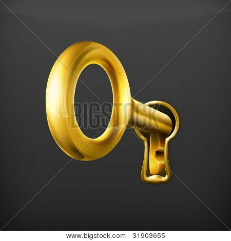 Golden key, vector