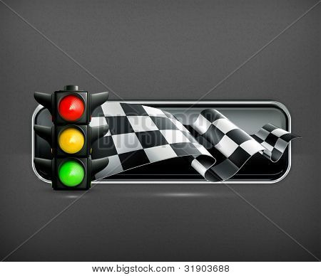 Racing banner with traffic lights, vector