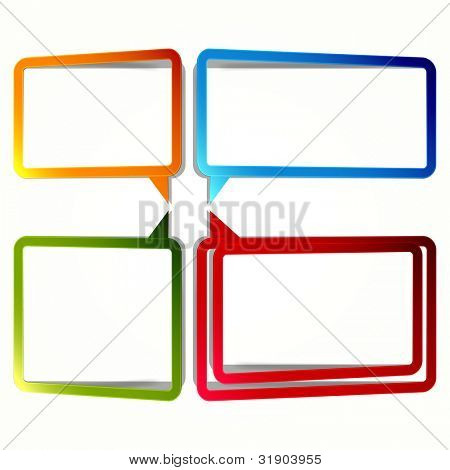 Bright rectangular stickers in the form of an empty frame for your text.