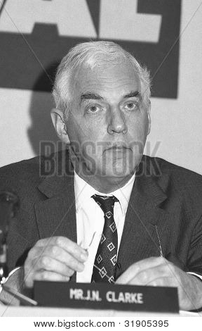 LONDON - JULY 24: Neil Clarke, Chairman of the British Coal Corporation, attends a press conference on July 24, 1991 in London. He was the last Chairman before the coal industry was privatised.