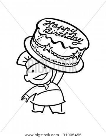 Baker With Birthday Cake - Retro Clipart Illustration