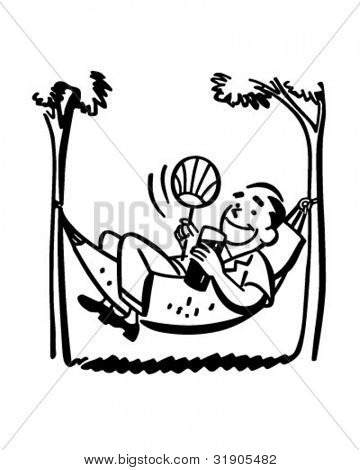 Man Lounging In Hammock - Retro Clipart Illustratoin