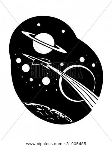 Rocketship To Space - Retro Clipart Illustration