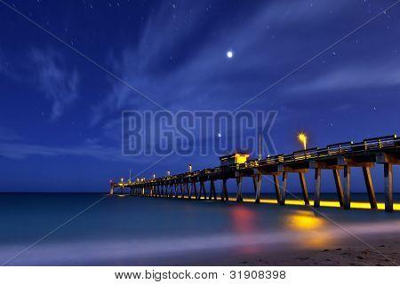 pier at venice beach florida at night