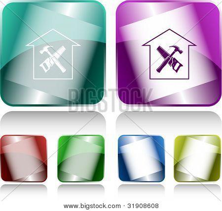 Workshop. Internet buttons. Raster illustration.