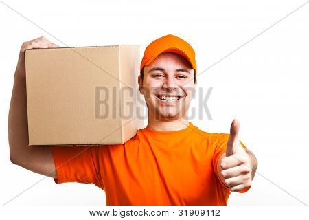 Portrait of an handsome deliverer. Isolated on white