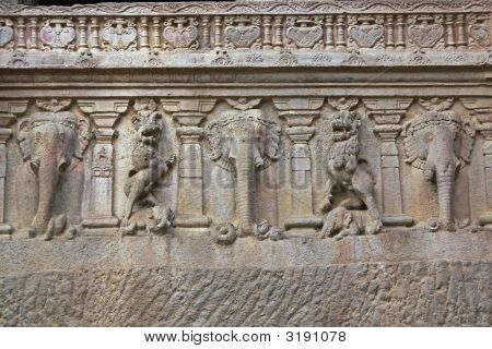 Elephants Carved On An Ancient Hindu Temple