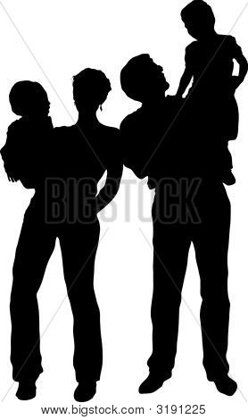 Vector Family With Two Children Stand