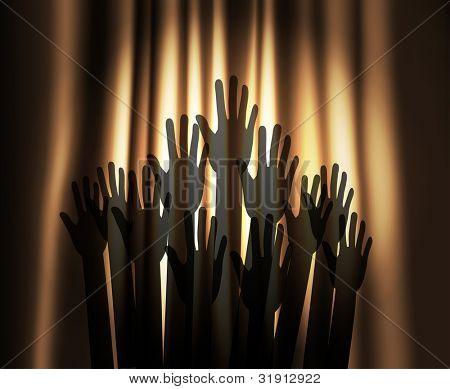 Theater Vorhang mit runden Fleck von Licht und Hände