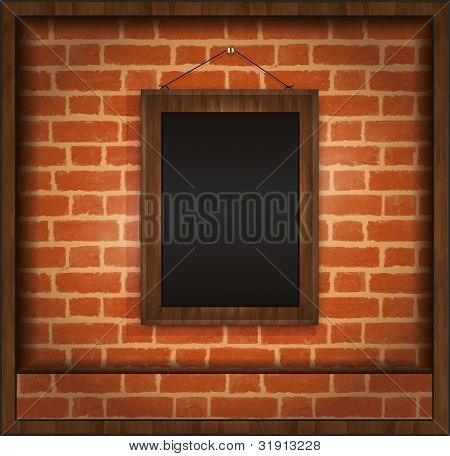 Blackboard Frame Wood Menu Brick Wall Raster