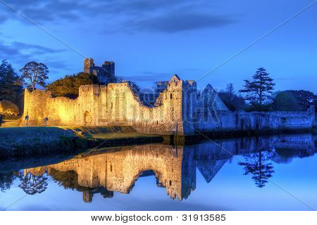 Ruins of the castle in Adare at night, Co. Limerick - Ireland