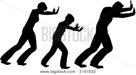 Push Family With Child Vector Silhouette