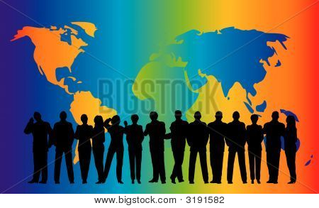 Business Crowd Rainbow Globe Map