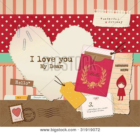 Scrapbook Elements for Valentine's Day Design.