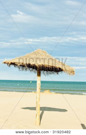 sunshade on the beach in Narbonne Plage, Languedoc-Roussillon, France