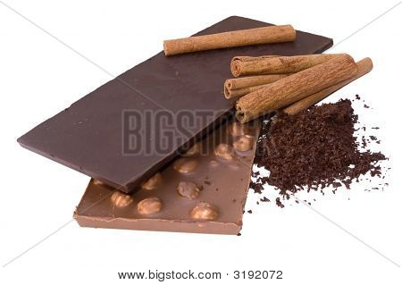 Slabs Chocolate, Grated Chocolate And Cinnamon
