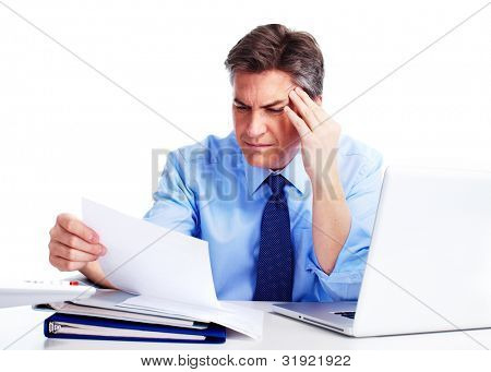 Accountant businessman having a stress.  Isolated on white background.