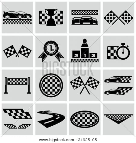 Racing and speed related icons set. Vector racing checkered graphic elements.