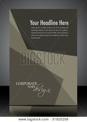 Professional  flyer, banner or cover design with abstract corporate look in brown color and copy space for your message. EPS10, Vector Illustration.