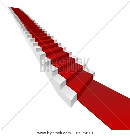 High resolution concept or conceptual 3D white stair and red carpet isolated on white background, for business,progress,growth,career,success,development,faith,religion or vision designs
