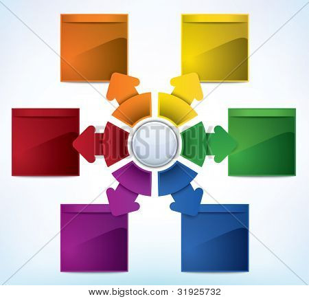 Business Presentation Diagram with six different colored fields for text and statistics - JPG version of a vector illustration from my portfolio