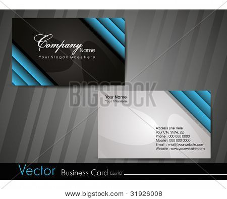 Professional business card set, template or visiting card. Artistic, abstract corporate look in black and blue colors, EPS 10 Vector illustration.