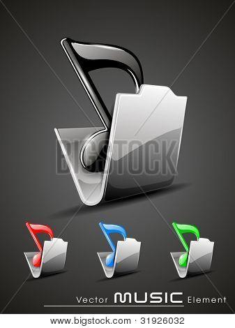 Ilustración del vector de un icono de carpeta de música 3d brillante situado en colores rojos, azules y verde. EPS 10, Iso