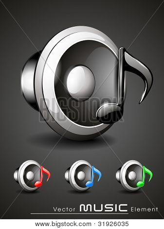 Vector ilustración de brillo 3d icono de altavoz de la música se encuentra en colores rojos, azules y verde. EPS 10. ISOL
