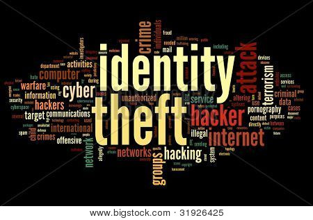 Identity theft concept in word tag cloud isolated on black background