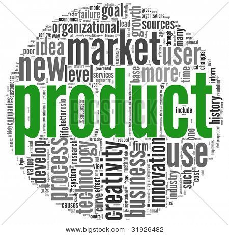 Product and creativity concept related words in tag cloud on white