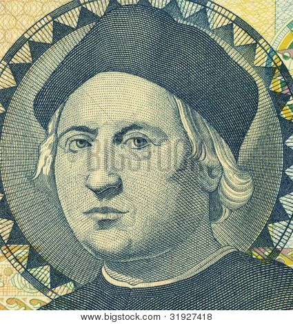 BAHAMAS - CIRCA 1992: Christopher Columbus (1451-1506) on 1 Dollar 1992 Banknote from Bahamas. Italian explorer, colonizer and navigator.