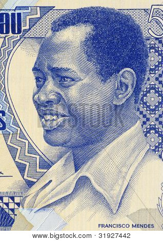 GUINEA BISSAU - CIRCA 1990: Francisco Mendes (1939-1978) on 500 Pesos 1990 Banknote from Guinea Bissau. First Prime Minister until his assassination.
