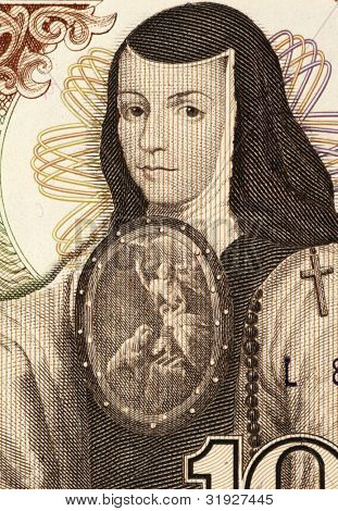 MEXICO - CIRCA 1984: Juana Ines de la Cruz (1651-1695) on 1000 Pesos 1984 Banknote from Mexico. Self-taught scholar and poet of the Baroque school, and nun of New Spain.