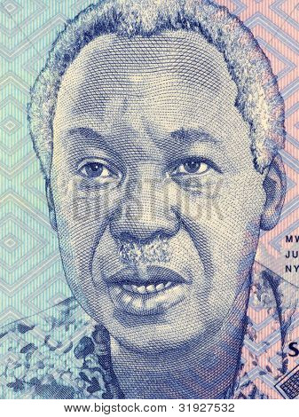 TANZANIA - CIRCA 2010: Julius Nyerere (1922-1999) on 1000 Shilingi 2010 Banknote from Tanzania. First President of Tanzania during 1961-1985.