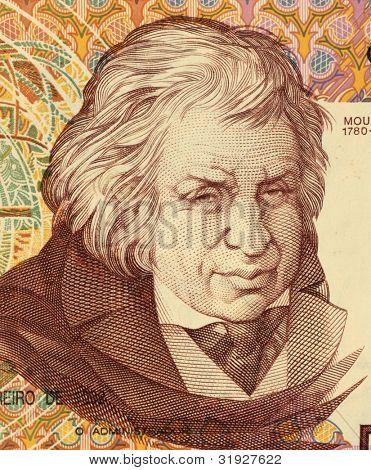 PORTUGAL - CIRCA 1992: Jose Javier Mouzinho da Silveira on 500 Escudos 1992 banknote from Portugal. Portuguese politician.