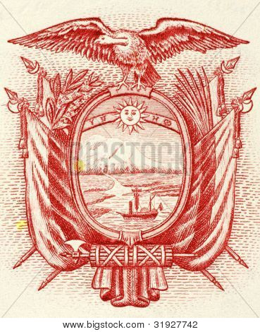 ECUADOR- CIRCA 1988: Ecuadorian Arms on 5 Sucres 1988 Banknote from Ecuador.