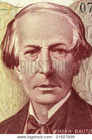 ARGENTINA - CIRCA 1984: Juan Bautista Alberdi (1810-1884) on 5000 Pesos 1984 Banknote from Argentina. Argentine political theorist and diplomat.